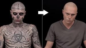 メイクでタトゥーを完全に隠す動画