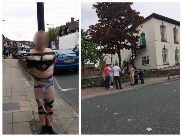 何があった!? 裸でテープとラップでぐるぐる巻きにされた男性が目撃される!