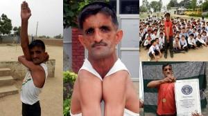 左右の肩をくっつける!? インドのゴム人間、肩でCDを割りギネス記録認定!