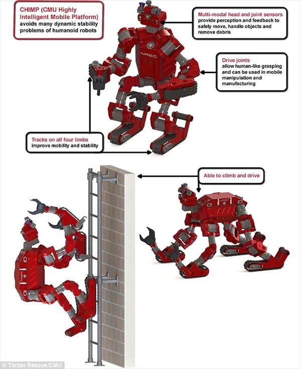 トランスフォーム!キャタピラ走行、壁を登る、チェーンソー内臓の新型ロボット