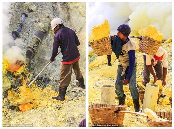 世界最悪の仕事!? インドネシアの硫黄鉱山で毒ガスを吸いながら働く労働者
