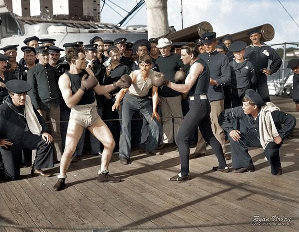 1899年7月3日に輸送上陸艦ニューヨークの船上でおこなわれたボクシングの試合