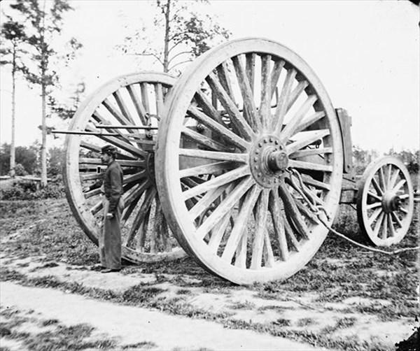 1865年アメリカ・バージニア州、南北戦争で、大砲の除去に使われた吊り下げ運搬車
