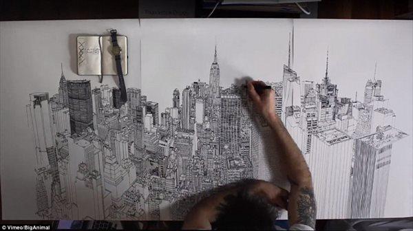 製作期間4週間!! ペン一本でニューヨークの景色を精巧に描く!