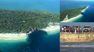 クイーンズランドのビーチに巨大な穴が開く! 車などが飲み込まれ、周辺封鎖!