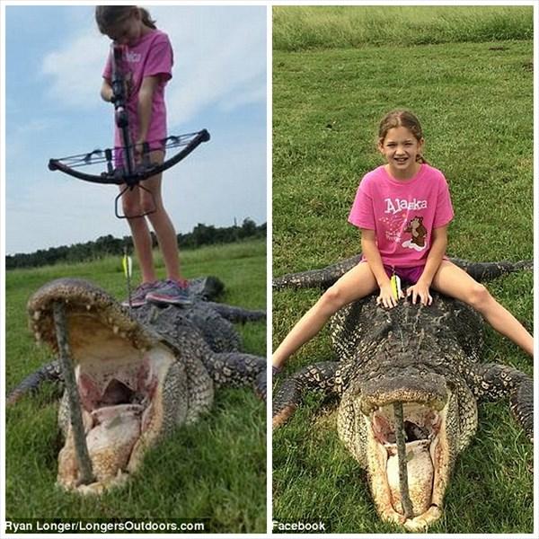クロスボウでワンショット! 360キロの怪物ワニをハントした10歳の少女