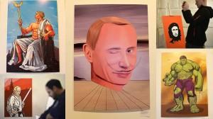 右も左もプーチン一色! ウラジーミル・プーチンを題材にした作品だけの展示会