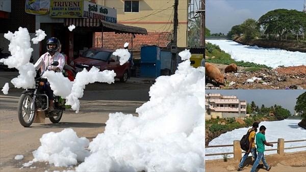 インドの街が大量の泡に襲われる! 見た目は綺麗だが、有毒でしかも可燃性!