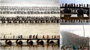 異世界感を感じる! インドのガンジス河に架けられている手作りの橋