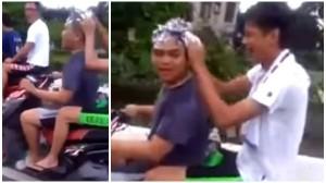 台湾版バカッター!? ノーヘルでバイクに乗りながらシャンプーをする少年たち