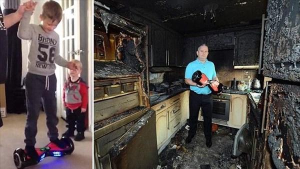 クリスマスに孫にプレゼントしたバランススクーターが爆発! キッチンが黒焦げ