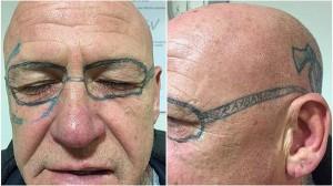 泥酔した翌日目覚めたら顔面にタトゥーが入っていた男 しかもレイバンのメガネ