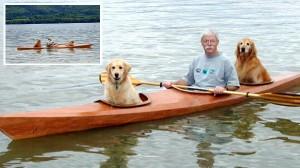 羨ましい老後! 特注カヤックで冒険する犬とおじいちゃん