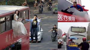 中国にスーパーマンが現れる!? 先月には宙に浮く新郎新婦も出現!