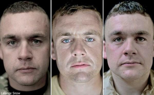 戦争は人の顔を変える? 戦争に参加した兵士の戦争前、派遣中、帰還後の写真