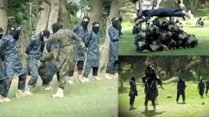 人間ピラミッドに金的蹴り!? イスラム国(ISIL)の奇妙な訓練風景!
